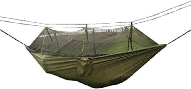 Amazon.com: Rusee Camping Hammock, Mosquito Net Outdoor Hammock Travel Bed  Lightweight Parachute Fabric Double Hammock for Indoor, Camping, Hiking,  Backpacking, Backyard: Sports & Outdoors