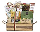 Wine Country Gift Baskets Taste of Italy Gourmet Gift Basket Beautiful Reusable Wooden Tray full of Italian Delicacies