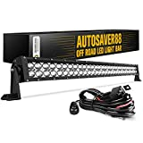 LED Light Bar AUTO 4D 32 Inch Work Light 300W with 8ft Wiring Harness, 30000LM Straight Offroad Driving Fog Lamp Marine Boating Light IP68 WATERPROOF Spot & Flood Combo Beam, 2 Year Warranty