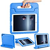 CAM-ULATA Case for 9.7 iPad Kids 2018/2017 for iPad Air 1 Air 2 Tablet Kids Shockproof Handle Cover 5th 6th Generation 9.7 inch with Folio Stand Blue