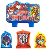 amscan Mighty Transformers Birthday Party Molded Character Candle Decoration Set, Pack of 4, Blue, 3' X 1',