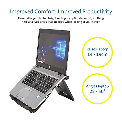 Kensington Easy Riser Portable Ergonomic Laptop Cooling Stand (12″-17″) for Windows & Mac devices such as Dell, Toshiba, HP, Samsung, MacBook, Lenovo with Secure Fit and SmartFit System – Grey (60112)