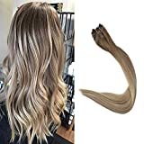 Full Shine Sew In Hair Extensions 22 inch Color #8 Ash Brown Fading to Light Blonde #60 and Ash Blonde #18 Hair Weft Real Human Hair 100g Per Set Remi Double Weft Hair