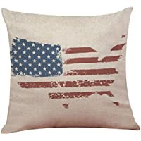 Independence Day Pillow Case 18x18, Elevin(TM) New Vintage Patriotic American Flag Pillow Cases Cotton Linen Sofa Cushion Cover Home Decor