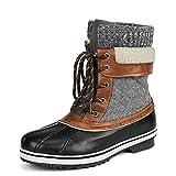 DREAM PAIRS Women's Monte_01 Black Grey Mid Calf Winter Snow Boots Size 10 M US
