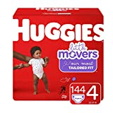 Huggies Little Movers Baby Diapers, Size 4, 144 Ct, One Month Supply
