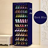 Aysis Multipurpose Portable Folding Shoes Rack 9 Tiers Multi-Purpose Shoe Storage Organizer Cabinet Tower with Iron and Nonwoven Fabric with Zippered Dustproof Cover-Navy Blue-Grey