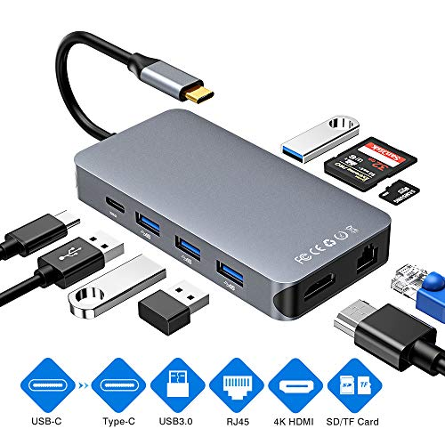 USB C Hub, 9 in 1 USB C to HDMI & RJ45 Gigabit Ethernet Hub with 4 USB3.0 Ports, SD/TF Card Reader & USB C Charging Port, Type C to 4K@30Hz HDMI&1000Mbps Network Adapter for Mac-Book Pro, DELL, HP etc