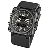 INFANTRY Men's Military Digital Watch Sports Tactical Watches LED Backlight Stopwatch Calendar Alarm Heavy Duty Big Face Black