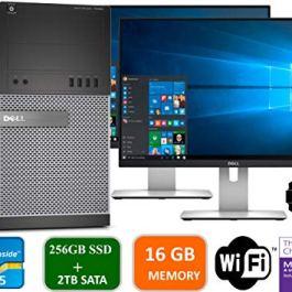 Dell Optiplex 9020 Mini Tower Desktop PC, Intel Core i5-4570, 16GB Ram, 2TB SATA Drive + 256GB SSD WiFi, DVD-RW, Dual 19″ LCD, Windows 10 Pro (Renewed)