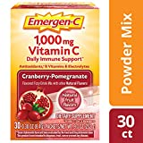 Emergen-C (30 Count, Cranberry-Pomegranate Flavor, 1 Month Supply) Dietary Supplement Fizzy Drink Mix with 1000mg Vitamin C, 0.30 Ounce Powder Packets, Caffeine Free