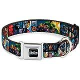 "Buckle-Down-Down-Down Seatbelt Dog Collar - Avengers Assemble Comic Book Character Panels - 1.5"" Wide - Fits 16-23"" Neck - Medium"