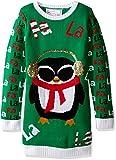 Derek Heart Girls' Big Penguin with Headphones and FA La Jacquard Christmas Sweater, Green Combo, Medium/10/12