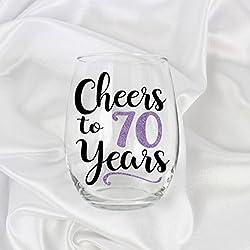 Cheers to 70 Years Wine Glass