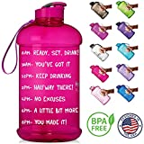 NatureWorks HydroMATE Half Gallon Motivational Water Bottle with Time Marker Large BPA Free Jug with Handle Reusable Leak Proof Bottle Time Marked to Drink More Water Daily 64oz (Pink)