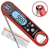 TURATA Waterproof Backlight LCD & Calibration Ultra Fast Meat Thermometer Digital Instant Read Food Thermometer for Outdoor Cooking, Baking Turkey, grilling steak, BBQ, and Candy