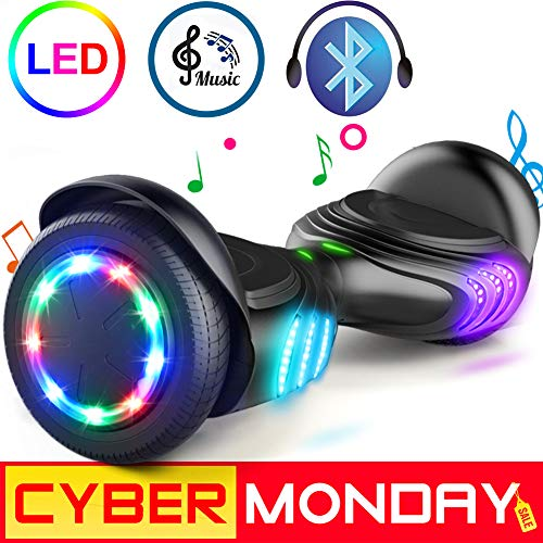 """TOMOLOO Hoverboard with Bluetooth Speaker and Colorful LED Lights Self-Balancing Scooter UL2272 Certified 6.5"""" Wheel for Adults and Child"""
