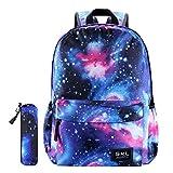 Galaxy School Backpack SKL Unisex School Bag Canvas Rucksack Laptop Book Bag Satchel Hiking Bag for Boys Girls (Galaxy Blue with Pencil Bag)