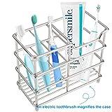 I&HE Premium Bathroom Toothbrush Holder 5 Slots Stainless Steel Bathroom Toothbrush Organizer - Multi-Function StandStorage Rack for Electric Toothbrush, Toothbrush, Toothpaste, Vanity,Countertops