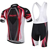 Unkoo Cycling Jersey Shirt Men Summer MTB Bike Downhill Bicycle Peloton Short Sleeve Bicycle Top Breathable Jerseys for Cycle Tops Team Sports Clothing Ropa Ciclismo Pro Half Black Red