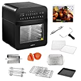 GoWISE USA 12.7-Quart Electric Air Fryer Toaster Oven with Rotisserie and Dehydrator 11 Accessories and 50 Recipes, Ultra (Black)