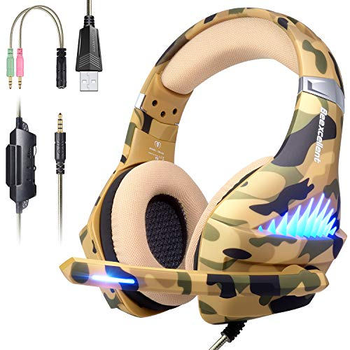 PS4 Gaming Headset for Xbox One, PC, Mac, Nintendo switch Games, Noise Reduction Gaming Headphones, Surround Sound with Microphone, LED Lights, 3.5mm jack for Smart phones, Laptop, computer -Camouflag