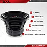 DS18 EXL-XX12.2D Subwoofer in Black - 12' Speaker, 4,000 Max Power, 2,000 RMS Power, Fiber Glass Dust Cap, Red Aluminum Frame, Dual Voice Coil 2+2 Ohm Impedance, Treated Rubber Edge (1 Speaker)