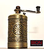 BION Spice Grinder, Pepper Mill, Turkish Handmade Grinder 3.0', Pocket Grinder, Salt Grinder (Antique Gold)
