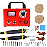 Tekchic Wood Burning Kit, 110V 100W Two Pyrography Pens Professional Woodburners with 20 Assorted Tips and Temperature Control - Red