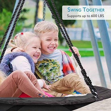Outdoor-Spinner-Saucer-Tree-Swing-Hanging-Tree-Round-Circular-Flying-Saucer-in-Rope-Straps-wCushion-Padded-Metal-Frame-Polyester-Fabric-Seat-Great-for-Kids-Adult-SereneLife-SLSWNG100-Black