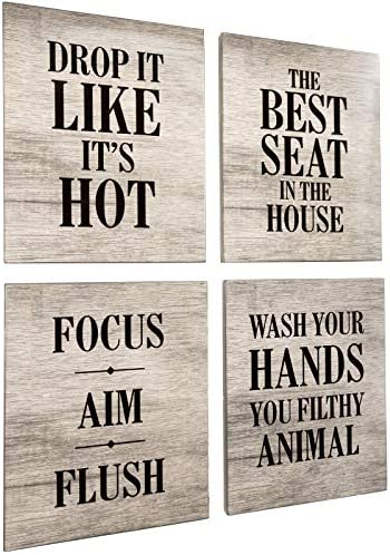 Excello Global Products Wooden Bathroom Humor Signs : Decor for Home, Restaurant, or Business – 8×10 Inches – Ready to Hang – (Pack of 4, Assortment 3)