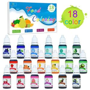 Food Colouring – 18 Colour x 10ml Liquid Rainbow Cake Food Colouring Set for Baking, Decorating, Fondant, Cooking and Icing – Concentrated Food Colour Dye for Slime Making and DIY Crafts 515Uj9Bx1NL