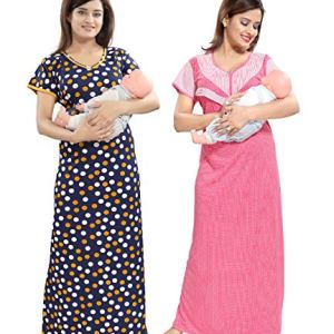 TUCUTE Women/Girls Beautiful Polka Dott's Print + Pink Baby Shades Print Feeding/Maternity/Nursing/Nighty/Night Gown/Night Dress/Nightwear (Free Size) Offer (Pack of 2) Smart Combo 20  TUCUTE Women/Girls Beautiful Polka Dott's Print + Pink Baby Shades Print Feeding/Maternity/Nursing/Nighty/Night Gown/Night Dress/Nightwear (Free Size) Offer (Pack of 2) Smart Combo 515UxPxbpRL