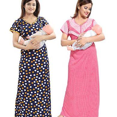 TUCUTE Women/Girls Beautiful Polka Dott's Print + Pink Baby Shades Print Feeding/Maternity/Nursing/Nighty/Night Gown/Night Dress/Nightwear (Free Size) Offer (Pack of 2) Smart Combo 19