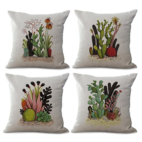 ULOVE LOVE YOURSELF 4Pack Cactus Throw Pillow Covers Cotton Linen Tropical Plants Square Pillowcases 18 X 18 Inch Decorative Cushion Cover (Cactus-1)