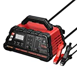 Potek 2/6/10 Amp Smart Battery Charger and Maintainer with 50-Amp Battery Clips