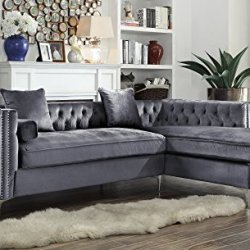 Iconic Home Da Vinci Tufted Silver Trim Grey Velvet Right Facing Sectional Sofa with Silver Tone Metal Y-Legs,SR32-14GR-N1-AN