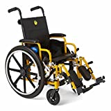 Medline Kids Pediatric Wheelchair, 14' Wide Seat, Swing-Away Desk-Length Arms, Elevating Leg Rests, Yellow Frame is Great for Children