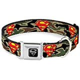 """Buckle-Down Seatbelt Buckle Dog Collar - Superman Shield Camo Olive - 1"""" Wide - Fits 15-26"""" Neck - Large"""
