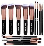 BS-MALL Makeup Brushes Premium Synthetic Foundation Powder Concealers Blending Eye Shadows Face Makeup Brush Sets(14 Pcs, Rose Golden)