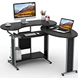 L-Shaped Computer Desk, LITTLE TREE Rotating Corner Desk & Modern Office Study Workstation, for Home Office or Living Room (Black)