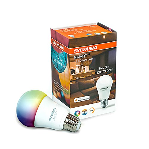 Sylvania + A19 Full Color LED Bulb, Works with Apple HomeKit and and Siri Voice Control, No Hub Required, 74484 (Bluetooth Edition), 1 Pack, Adjustable White