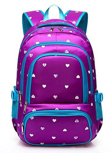 Fashion Girls Backpack for Kids Elementary School Bag Girly Bookbag Children 17 Inch Nylon Heart Print (Purple & Blue)
