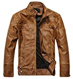 Product review for Chouyatou Men's Vintage Stand Collar Pu Leather Jacket (Large, DZQM769-Brown)