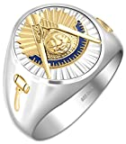 Customizable Men's 0.925 Sterling Silver with Gold Plated Emblems Past Master Freemason Masonic Ring, Size 14