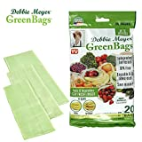 Debbie Meyer GreenBags - Reusable BPA Free Food Storage Bags, Keep Fruits and Vegetables Fresher Longer in these Green Bags! 20pc Set (8M, 8L, 4XL)