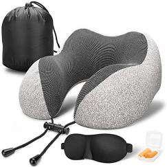 MLVOC Travel Pillow 100% Pure Memory Foam Neck Pillow, Comfortable & Breathable Cover - Machine Washable, Airplane Travel Kit with 3D Sleep Mask, Earplugs, and Luxury Bag (Grey)