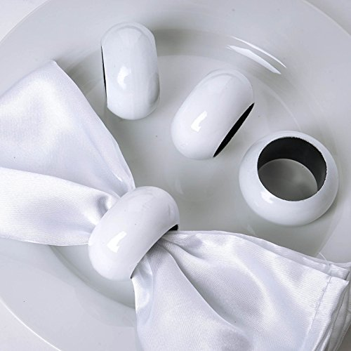 Efavormart 20 PCS Wholesale White Acrylic Napkin Rings for Place Settings Wedding Receptions Dinner or Holiday Parties Tableware