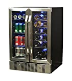 NewAir Dual Zone Wine & Beverage Cooler, Built-In Stainless Steel Refrigerator for Soda Beer or Wine, Holds 18 Bottles & 60 cans, AWB-360DB