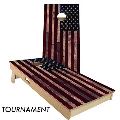 Rustic Wood American Flag Cornhole Set